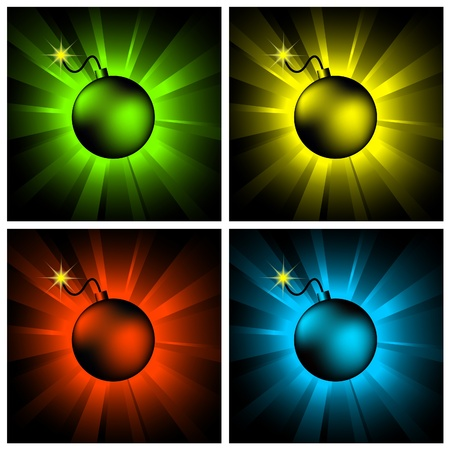 nuclear bomb: illustration of color bombs on shining backgrounds Illustration