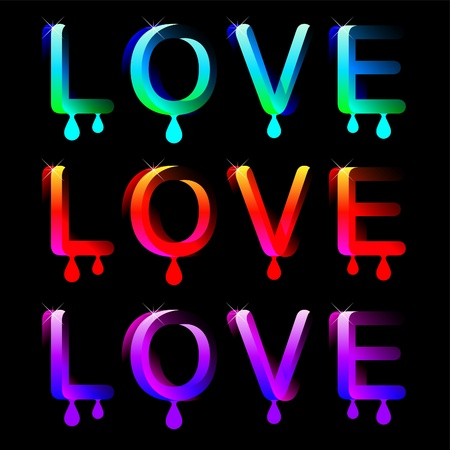 smooch: palabras sexys de color el amor en fondo negro Vectores