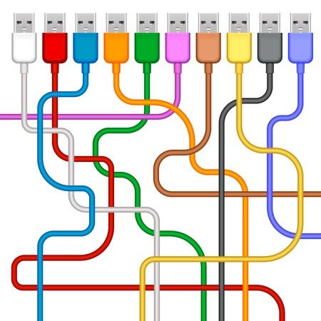 cable red: USB que se conecta con cable aislado sobre fondo blanco Vectores