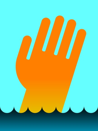 apnea: icon or pictogram of drowning mans hand in water