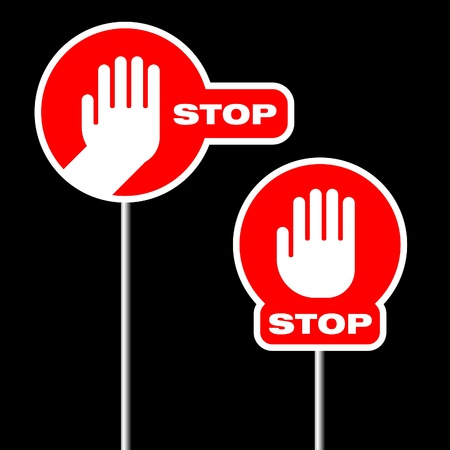 alternative road stop signs on black background Stock Vector - 9722287