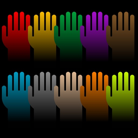 voting hands: colorful group of voting hands isolated on black