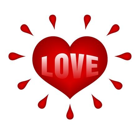 blood type: coraz�n rojo con gotas de sangre todo en blanco