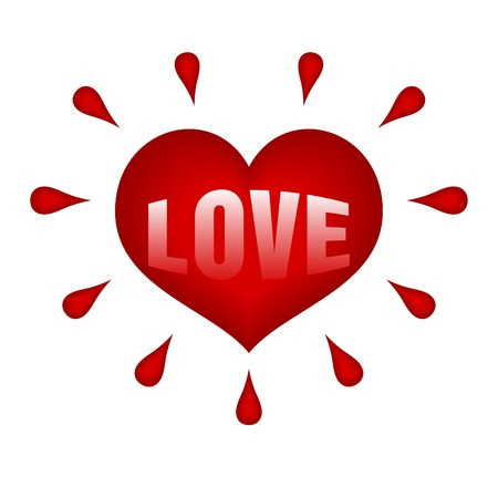 red heart with drops of blood around on white Stock Vector - 9721017