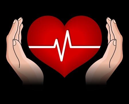 cautious: coraz�n humano en manos aisladas sobre fondo negro