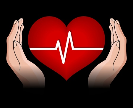 menschliche Herz in h�nde isoliert auf schwarzem Hintergrund