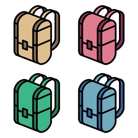 packsack: illustration of four color backpacks Illustration