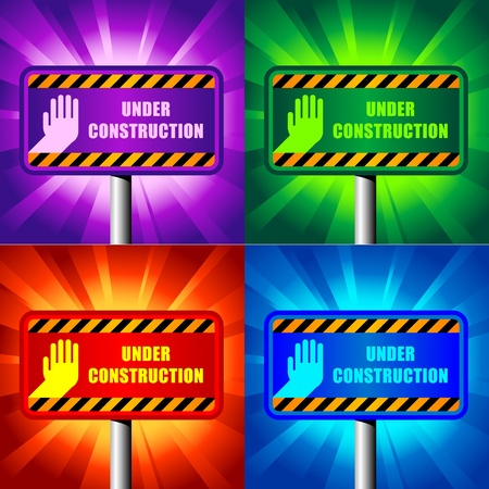 color under construction signs on shining backgrounds Stock Vector - 9815507