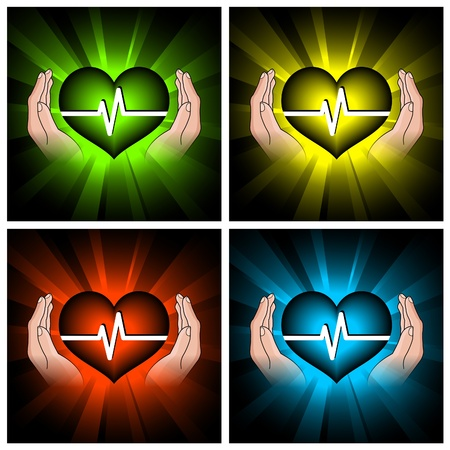 set of illustrations of color hearts and hands Vector