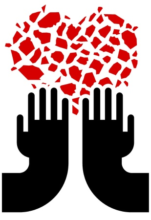 illustration of broken red heart and hands Stock Vector - 9815487