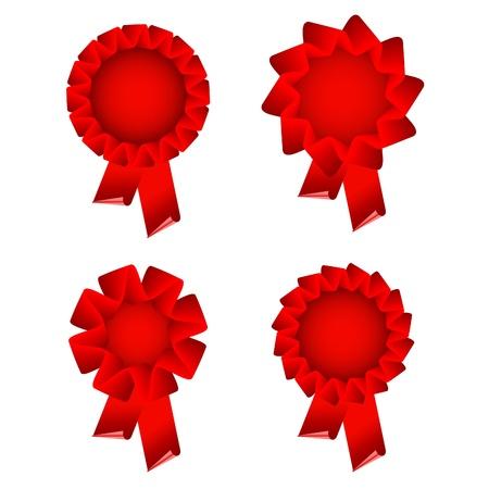 award ribbon rosette: red award ribbon rosette isolated on white