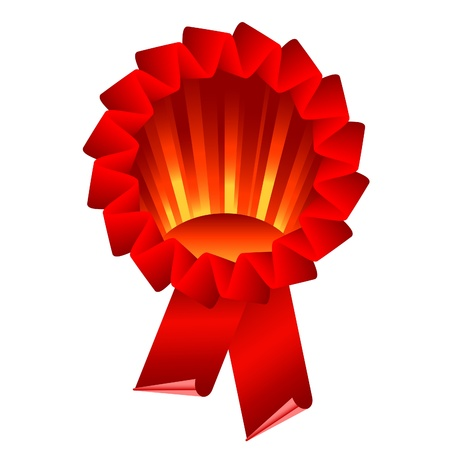 red award ribbon rosette isolated on white Stock Vector - 9815495