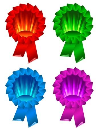 award ribbon rosette: color award ribbon rosette isolated on white Illustration