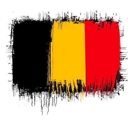 belgium: grunge illustration of flag of Belgium on white Illustration