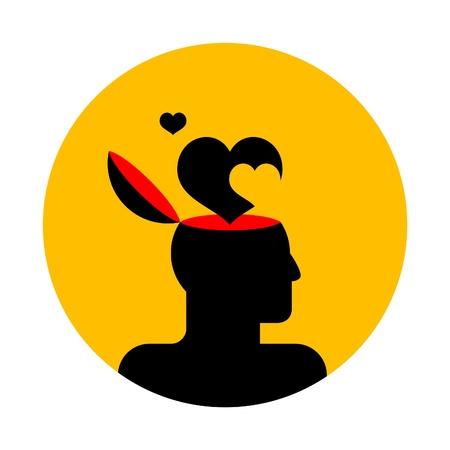 inteligencia emocional: icono de vector de cabeza humana con corazones