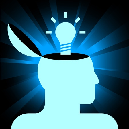 vector icon of human head with lamp on shining background Stock Vector - 9815519