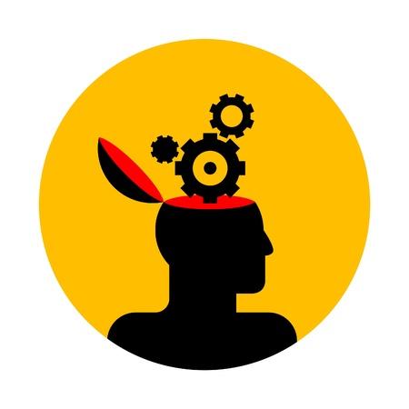 inteligencia emocional: icono de vector de cabeza humana con ruedas dentadas Vectores