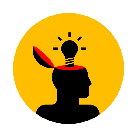 human mind: vector icon of human head with lamp