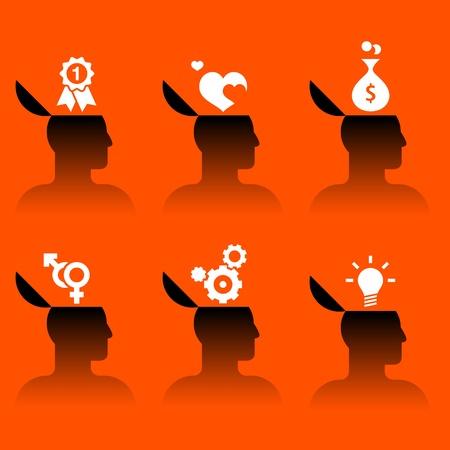 inteligencia emocional: conjunto de iconos vectoriales de cabeza humana con diversos objetos Vectores