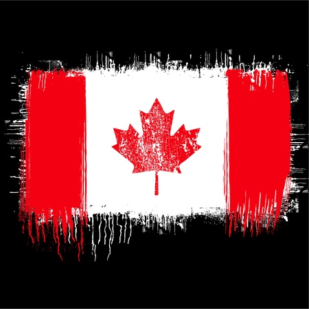 grunge illustration of flag of canada on black