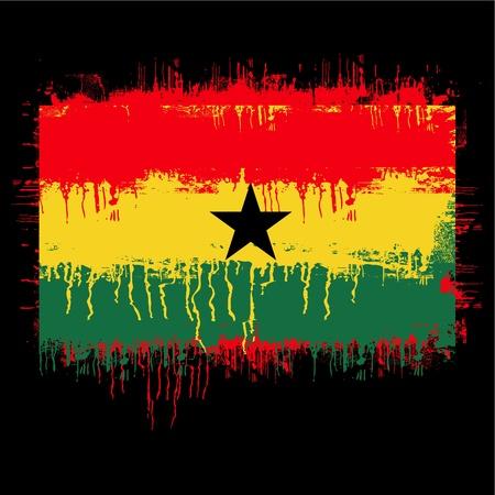 ghana: grunge illustration du drapeau du Ghana sur le noir Illustration