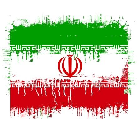 grunge illustration of flag of iran on white Stock Vector - 9927067
