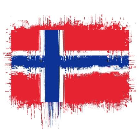 grunge illustration of flag of norway on white  Vector