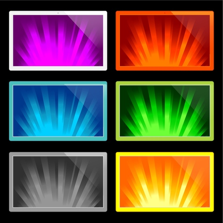 illustration of colorful rays of light on various displays Vector