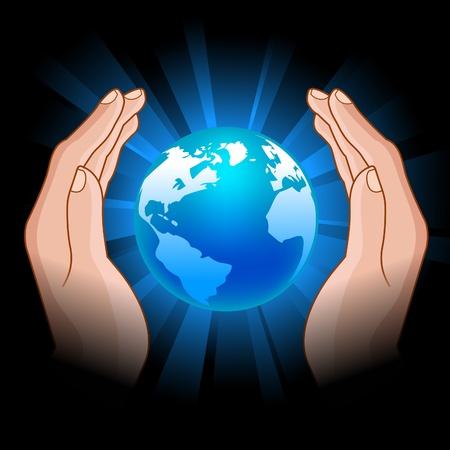 humanidad: Ilustraci�n del globo brillante en manos humanas Vectores