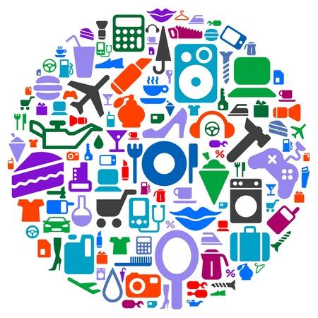 Satz von Piktogramme von verschiedenen Verbraucherfragen