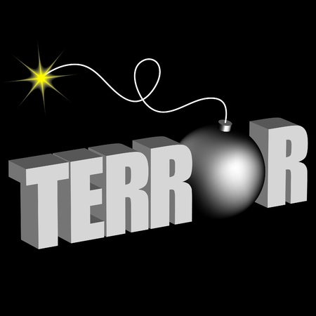 terror: word terror with bomb on black background Illustration
