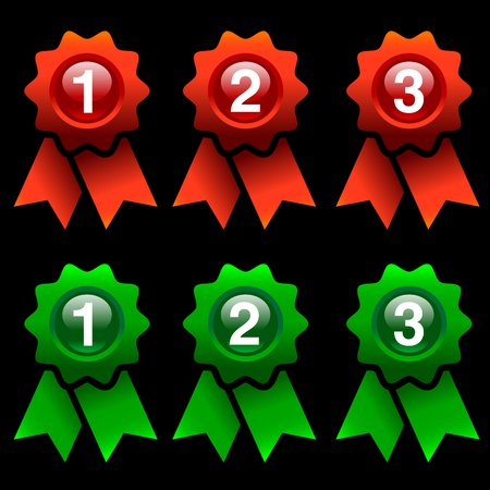 green and red award rosettes isolated on black background Vector