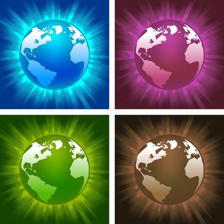illustrations of glowing globes on colorful backgrounds Vector