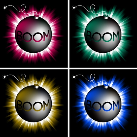 illustration of color bombs on shining backgrounds Stock Vector - 10066233