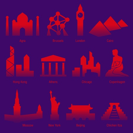 set of sightseeings of tourist cities of the world Vector