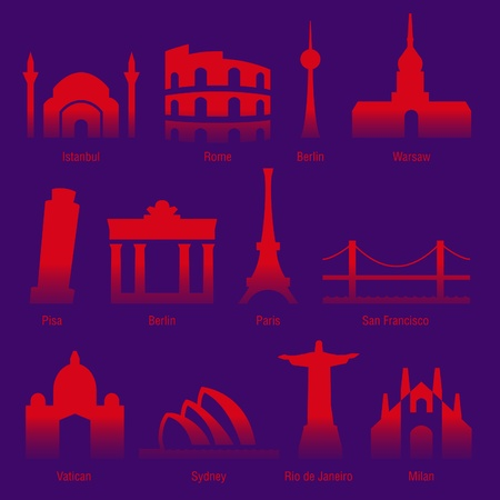 set of sightseeings of tourist cities of the world Stock Vector - 10066183