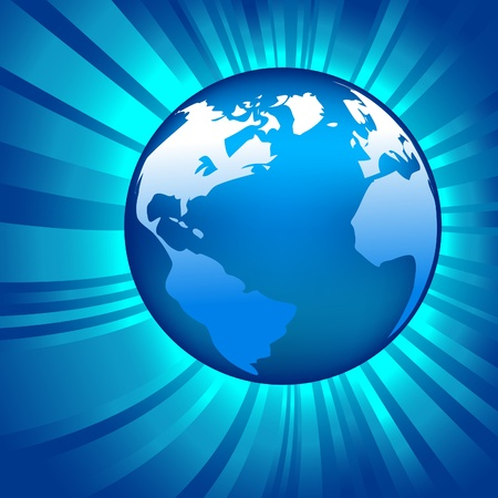 illustrations of glowing globe on shiny background Vector