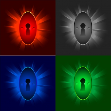colorful illustrations of keyholes on shiny backgrounds Stock Vector - 10066190
