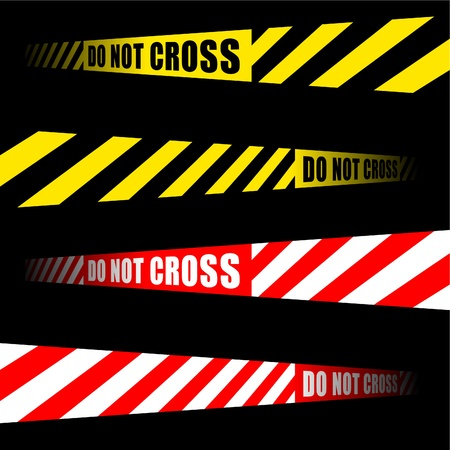 inscription: DO NOT CROSS inscription tape ribbon