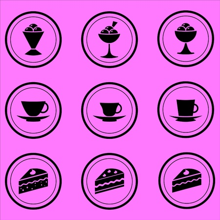 coffee house icons of desserts, tea and coffee Illustration
