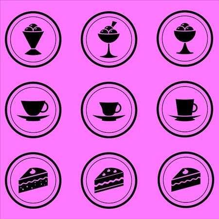 postres: iconos de c�mara caf� de postres, caf� y t�