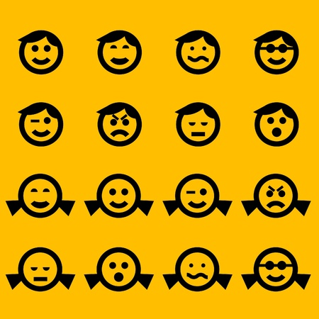 confused person: smiley symbols of female and male characters Illustration