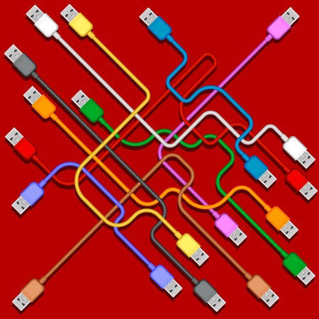 usb plugs with cords isolated on red background Illustration