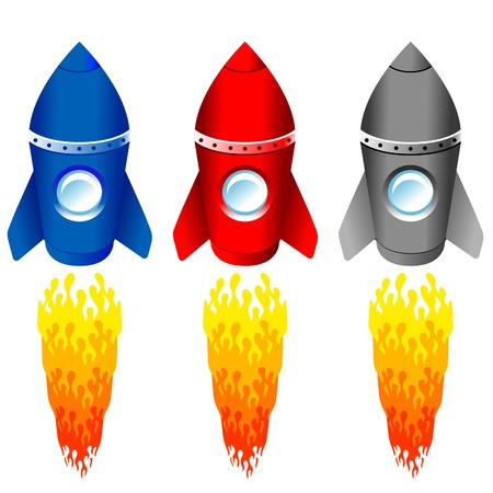 spaceships: set of color rockets on white