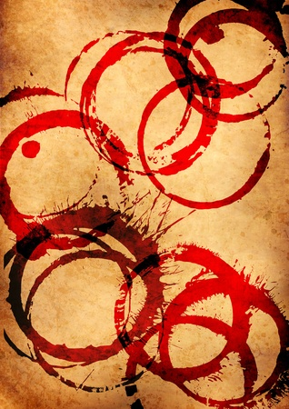 old grunge parchment with red wine stains Stock Photo