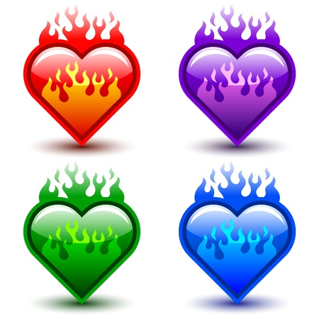 burn: flaming hearts on white background