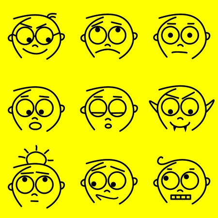 confused person: set of cartoon boy facial expressions Illustration