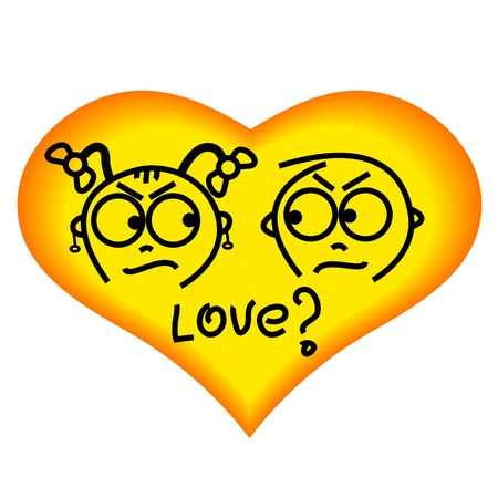 yellow heart with cartoon characters  Vector