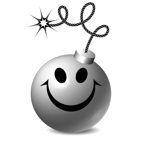 threat of violence: black and white smiley bomb