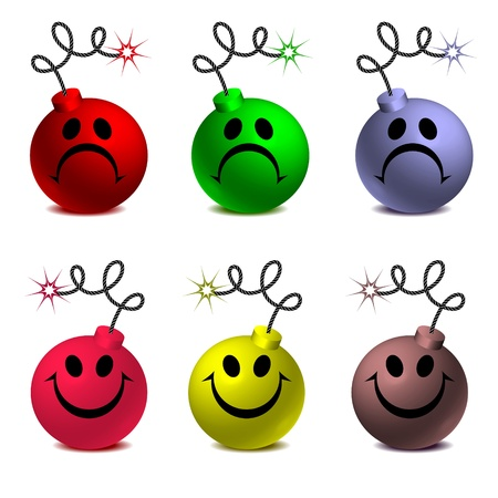 threat of violence: colorful smiley bombs isolated on white background